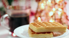 Waffles with jam and Christmas spirit HD Stock Footage