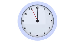 Clock: second hand ticks down to midnight Stock Footage