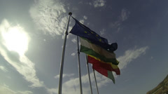 EU and Spanish Flags whippig in the wind Stock Footage