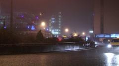 Night city in fog Stock Footage