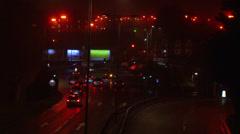Night city, red lights Stock Footage
