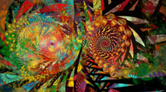 Intricately detailed symmetry spiral motion background seamless looping fractal - stock footage