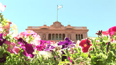 ARGENTINA - Flowers in front of Rosada House in Buenos Aires, Argentina Stock Footage