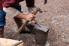 Work hammer on the anvil Stock Photos