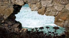 Wall rocks and sea landscape  portrait - stock footage