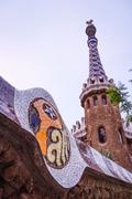 detail of entrance pavilion tower of the park guell in barcelona, spain - stock photo