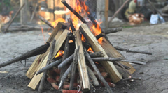 Camp fire burn in a courtyard Stock Footage