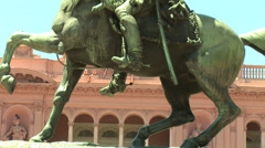ARGENTINA - MAY 2007: Statue behind Rosada House in Buenos Aires, Argentina Stock Footage