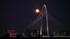 Time-Lapse MoonRise with Dallas Bridge Stock Footage