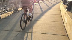 Slow Motion 120fps Pittsburgh Bicycling Long Shadow 3631 Stock Footage