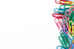 multi colored paper clips - stock photo