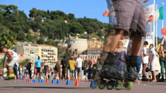 Roller blading in Nice 2 (slomo) Stock Footage