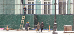 Workers renovating Hermitage building - stock footage