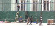 Stock Video Footage of Workers renovating Hermitage building