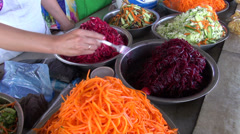 Pickled vegetables at Central Asian bazaar - stock footage