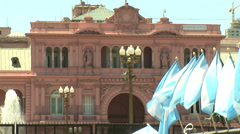 ARGENTINA - Argentina's flags and Rosada House in Buenos Aires, Argentina Stock Footage