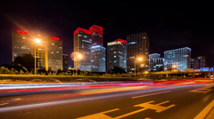 Jianwai SOHO buildings and traffic at night,Beijing,China Stock Footage
