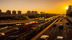 Different view of Tonghui River freeway,sunset,Beijing,China Stock Footage