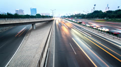 From day to night freeway traffic,Beijing,China Stock Footage