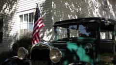Ford Model A 1929 Flag CU RL Slider Stock Footage
