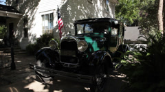 Ford Model A 1929 Flag Stat Stock Footage