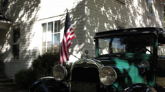 Ford Model A 1929 Flag CU Stock Footage
