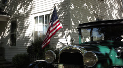 Ford Model A 1929 Flag Stock Footage