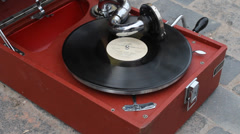 Vintage records on the gramophone Stock Footage