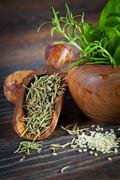 Macro composition of italian cooking ingredients, garlic, rosemary, basil lea Stock Photos