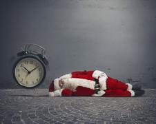 santa claus asleep - stock photo