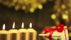 panning over four advent candles at christmas - stock footage