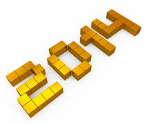 Year 2014 cubic golden Stock Photos