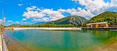 Landscape with hydro-electric power plant and lake in Ligonchio, Italy Stock Photos