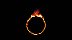 Burning circle, seamless loop with alpha Stock Footage