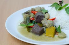 Thai food chicken green curry white rice - stock photo