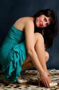 Brunette portrait  on dark background Stock Photos