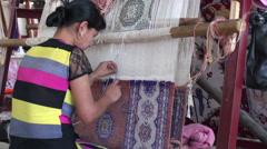 Carpet factory in Uzbekistan Stock Footage