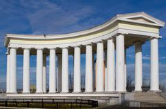 colonnade at vorontsov palace in odessa - stock photo