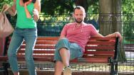 Stock Video Footage of Couple fighting, arguing and break up on bench in park HD