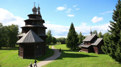 Veliky Novgorod - museum of old russian wooden architecture - timelapse Stock Footage