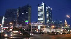 Traffic on New Arbat street near Lotte Plaza trade center Stock Footage