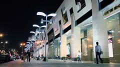 Citizen walk by pavement near trade center Lotte Plaza Stock Footage