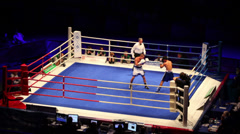 Fight in boxing match WSB at Sports Palace Krylatskoye Stock Footage
