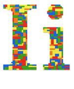 letter i built from toy bricks in random colors - stock photo