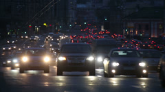 Evening car traffic at rush hour in moscow - timelapse Stock Footage