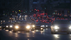 evening car traffic at rush hour in moscow - stock footage