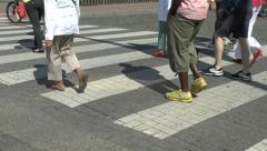 Pedestrians crossing the road, Antwerp, Belgium. Stock Footage