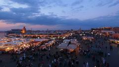 Jemaa el Fna Square in Marrakesh, Morocco Stock Footage