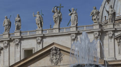 Architectural Detail San Pietro Square Vatican Rome Sculpture Fountain Sunny Day Stock Footage