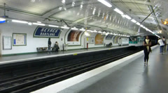 Interior of Paris Metro station, France, with sound. Stock Footage